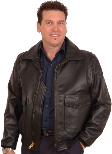 G1 Navy Military Goatskin Leather Bomber Jacket with Plain Collar