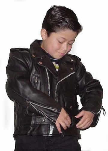 K1 Kids Lightweight Leather Motorcycle Leather Classic Jacket