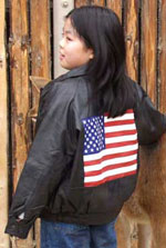 K-Flag Kids Leather Bomber with USA Flag on back