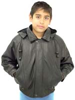 K15 Kids Leather Bomber Waist Jacket with Removable Hood