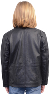 K1940 Kids Leather Stadium Jacket with Plain Cuffs and Waist Back View