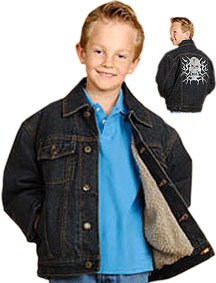 Kids Denim Jacket with Buttons and Skull Embroidery on back