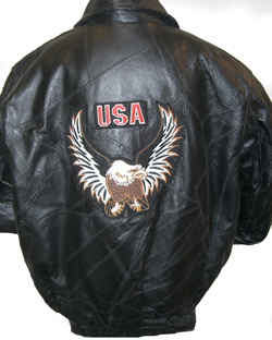 Kids Leather Patchwork waist jacket with Eagle Patch on back