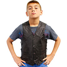 KV392 Kids Motorcycle Leather Biker Vest with Laces