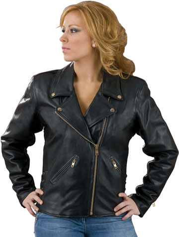L102X Ladies Classic Biker Jacket with Crossover Collar Made in the USA