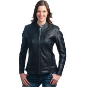 C124 Ladies Motorcycle Riding Vented Scooter Leather Jacket