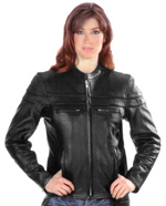 C6537 Ladies Vented Leather Biker Jacket