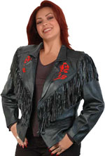 Janice Lambskin Leather Rose Jacket with buttons