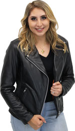 C11 Ladies Leather Biker Jacket with Laces and Zipout Liner