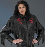 Ladies Red Rose Leather Biker Jacket with Fringe