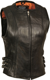 LV1911 Ladies Motorcycle Leather Vest Front View