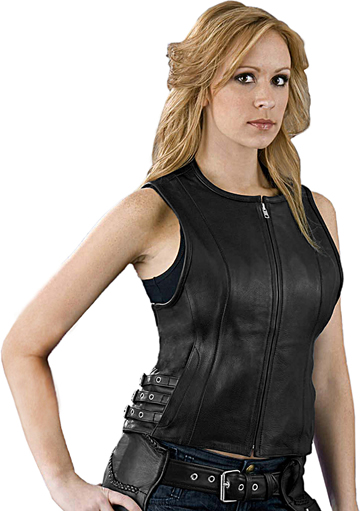 LV1911 Ladies Motorcycle Leather Vest with Adjustable Side Buckles