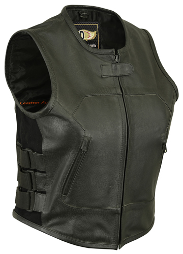 LV200 Ladies Tactical Leather Vest with Elastic and Ajustable Straps Click for Large View