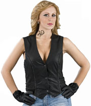 LV2045 Ladies Leather Braid Vest