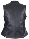 LV8508 Ladies Leather Zipper Vest with Short Collar and Zipper Pockets Back View