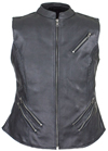 LV8508 Ladies Leather Zipper Vest with Short Collar and Zipper Pockets Front View