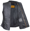 LV8508 Ladies Leather Zipper Vest with Short Collar and Zipper Pockets Inside View