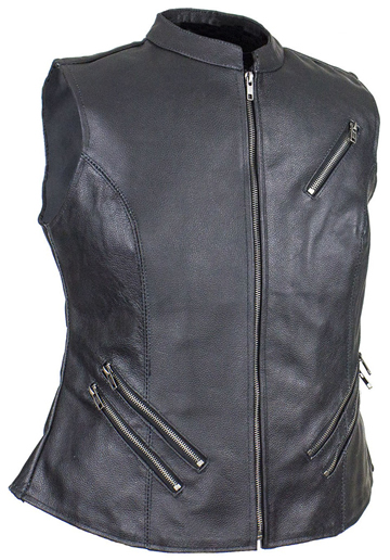 LV8508 Ladies Leather Zipper Vest with Short Collar and Zipper Pockets Large View