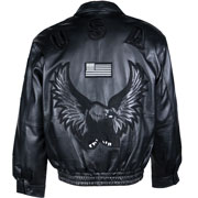 usa jacket in black-with-flag_ LEATHER JACKET