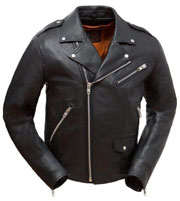 C297 The Enforcer Traditional Basic Biker Distress Leather Jacket