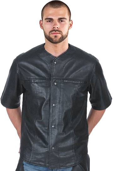 C868 Perforated Leather Baseball Shirt with Snaps