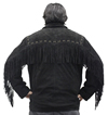 S49924 Mens Black Leather Suede Coat with Western Cut and Fringes Back View