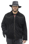 S49924 Mens Black Leather Suede Coat with Western Cut and Fringes Front View