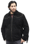 S49924 Mens Black Leather Suede Coat with Western Cut and Fringes Front View 2