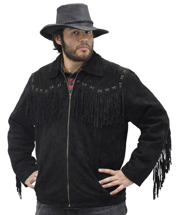 S49924 Mens Black Leather Suede Coat with Western Cut and Fringes Large View