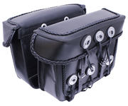 Saddle-1578 Black Leather Motorcycle Bolt-On Saddle Bags with Braid and Conchos
