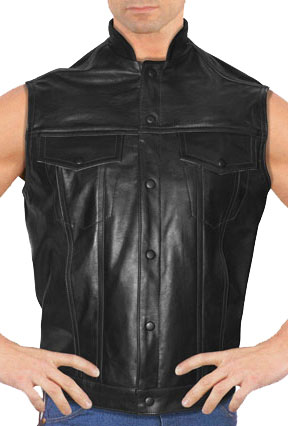 MV16 Anarchist 2 Leather Motorcycle Club Vest with Short Mandarin Sport Collar Made in the USA Large View