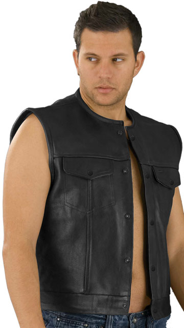 MV19 Boss Mens Leather Motorcycle Club Vest with No Collar Made in the USA Large View