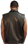 MV15 Anarchist Mens Leather Motorcycle Club Vest with Shirt Collar Jean Style Made in the USA Back View