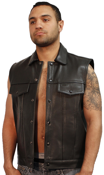 MV15 Anarchist Mens Leather Motorcycle Club Vest with Shirt Collar Jean Style Made in the USA Large View