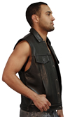 MV15 Anarchist Mens Leather Motorcycle Club Vest with Shirt Collar Jean Style Made in the USA Side View