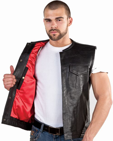 V8002 Mens Leather Motorcycle Club Vest with No Collar and Red Liner Large View