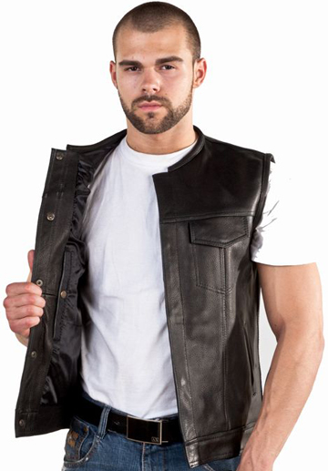 V8007 Mens Leather Motorcycle Club Vest with No Collar and Black Liner Large View