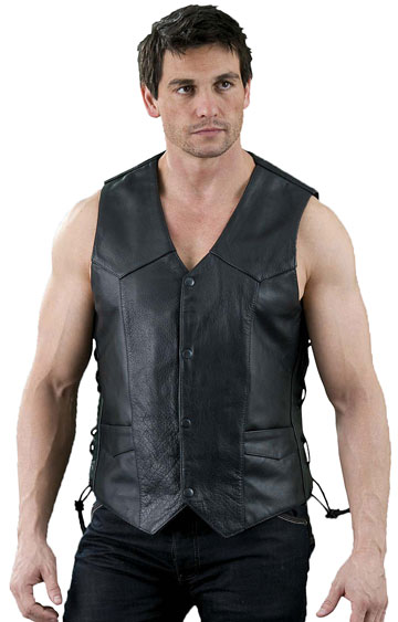 V101 Mens Leather Motorcycle Basic Vest with Side Adjusting Laces Large View