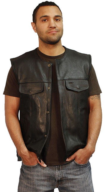 V2610 Mens Club Vest with No Collar and Hidden Snaps
