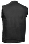 V639 Mens Leather Club Vest with Short Mandarin Collar and Hidden Snaps and Zipper Back View