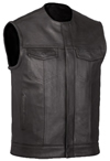 V639 Mens Leather Club Vest with Short Mandarin Collar and Hidden Snaps and Zipper Front View