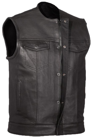 V639 Mens Leather Club Vest with Short Mandarin Collar and Hidden Snaps and Zipper Larger View