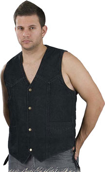 VD1315 Mens Black Denim Basic Vest with Side Lacing