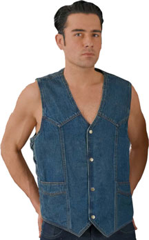 VD1315 Mens Blue Denim Basic Vest with Side Lacing