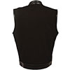 VDM3010 Black Denim Biker Vest with Leather Trim and Plain Sides Back View